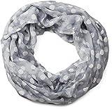 styleBREAKER Punkte Muster Loop Schlauchschal, seidig leicht, Tuch, Damen 01016111, Vintage Meliert Grau-weiß, Einheitsgröße