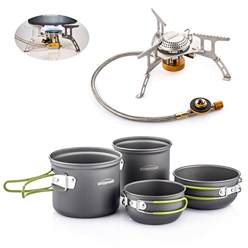 Overmont Portable Outdoor Camping Hiking Picnic Aluminum Alloy Cookware Set With Ultra-light Portable Outdoor Camping Hiking Picnic Stove Stainless Steel Burner