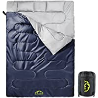 ARAER Double Sleeping Bag with Two Free Pillows, Lightweight Waterproof Sleeping Bag 4 Seasons for Camping, Outdoor Hiking, Backpacking, Compact Size