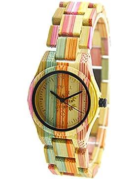 Bewell Bunte Casual Damenuhr Natürliche Hölzerne Uhren Geringes-Gewicht Quartz Armbanduhr