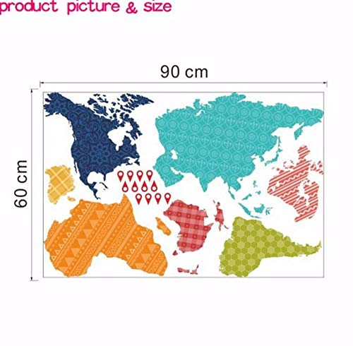 Etiqueta pared Colorido PVC 60X90 CM Mapa Mundial