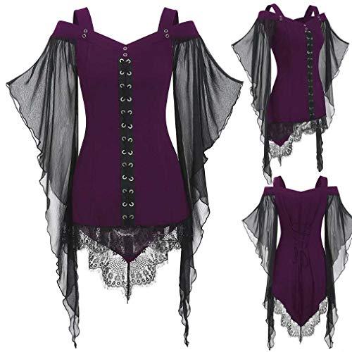 Trisee Damen Halloween Sweatshirts Gothic Cross Spitzen T-Shirt Übergroße Tops Hemds mit Schmetterlingsärmel Slim Fit Oberteil Sexy Party Costume (Kostüm Gutschein 25)