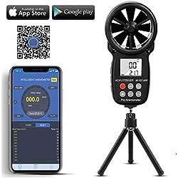 Anémomètre Digital LCD Vitesse du Vent de Mètre Indicateur de Mesure de la Vitesse du Flux d'Air Thermomètre avec Rétro-éclairage