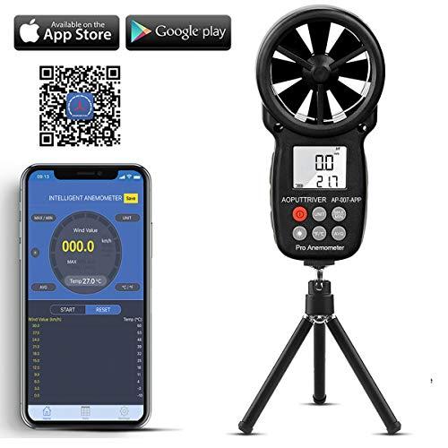 Medidor de velocidad del viento AP-007APP con anemómetro digital de mano,anemómetro...