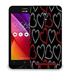 Snoogg Red And Grey Hearts Designer Protective Phone Back Case Cover For Asus Zenfone GO