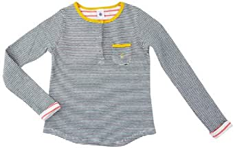 Petit Bateau - T-shirt à manches longues - fille - multicolore (bouteille/beluga) - 4 ans