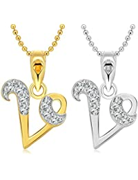 """Vighnaharta """"V"""" Letter Selfie CZ Gold And Rhodium Plated Alloy Pendant With Chain For Girls And Women."""
