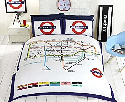 Bedding Heaven REVERSIBLE LONDON UNDERGROUND DOUBLE BED SIZE DUVET COVER. Fully Reversible. produced by Rapport - quick delivery from UK.