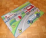 Kinderteppich Teppich Kinderteppich Kinder Teppich Spielteppich Emergency 80 x 120 cm ein muss für jeden Polizei Feuerwehr und Krankenwagen Fan darf in keinem Kinderzimmer fehlen