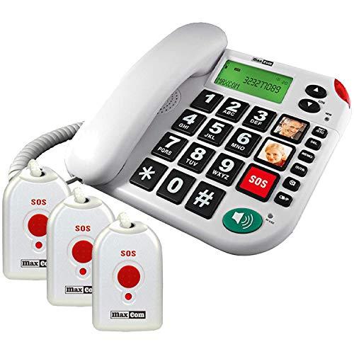 Maxcom KXTSOS: Seniorentelefon mit Funk-Notruf-Sender, schnurgebundenes Festnetztelefon mit 3 Umhängesendern, großen Tasten, Adapterstecker, hörgerätekompatibel