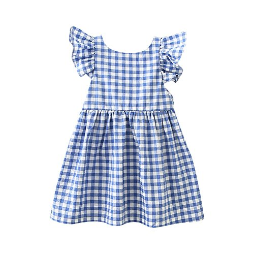 JUTOO Kinder Säuglingsmädchen Plaid Print Bowknot Strap rückenfreie Princess Dress Clothes (Blau,100)