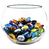 NEEZ - Ciottoli di Vetro per Decorazione Acquario, Vasi e Decorazioni per la Casa, Pietre rotonde, Pepite di Mosaico, gemme di Diverse Dimensioni, colori e peso, Mixed Colour Pebbles-100pcs/500gm