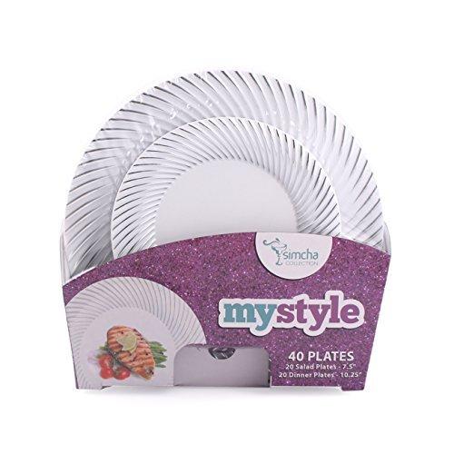 (MyStyle Kollektion, 40Pack weiß mit silber Swirl Teller Combo (inkl. 20–7,5Teller und 20–10,25Teller) Schwergewicht Kunststoff Elegantes Geschirr-Set)
