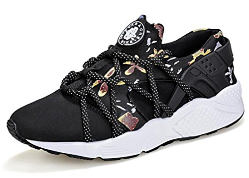 Men's Trendly Light Weight Flat Walking Shoes black flower