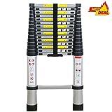 WolfWise 4,7M EN131 Teleskopleiter, Rutschfester Klappleiter Stehleiter Mehrzweckleiter aus hochwertiges Aluminium, 150 kg/330 Pfund Belastbarkeit, Schwarz