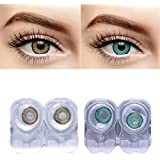 eyeshine T and R Lens Monthly Disposable Contact Lens with Case and Solution, Hazel and Turquoise