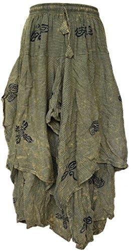 Asymmetrische Baumwolle Rock (LITTLE KATHMANDU Hippie Boho Baumwolle 2 Layer Asymmetrisch Elastische Taillen Lange Summer Röcke L)