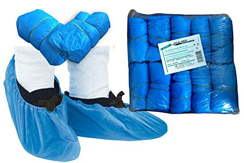 Copertura usa e getta in robusto polietilene, circa 3,6gr di spessore, qualità originale tiga-med, coperture chirurgiche per scarpe, colore blu, 100 pezzi