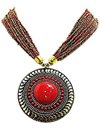[Sponsored]muccasacra Good Looking Hot Selling Red Stone HandCrafted Medallion Brass Necklace