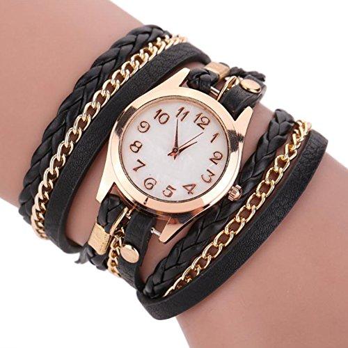Dosige 1pcs Lederarmband Armbanduhr Armband Uhr Mode Zifferblatt Uhr Dame und Mädchen (Schwarz)