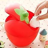 Gaddrt Mülleimer Erdbeer Mini Creative Covered Desktops Aufbewahrungskiste Küche Wohnzimmer Büro Plastik Tisch Schreibtisch Mülltonne Abfalleimer mit einem Schwingdeckel (Rosa) - 5