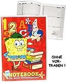 Unbekannt Hausaufgabenheft -  Spongebob Schwammkopf - Schulspaß  - für Faule - ohne Vortragen der Stunden ! - Schule - incl. Schutzhülle & bunten Seiten - für Mädchen..