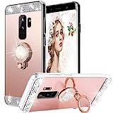 WATACHE Galaxy S9 Plus Hülle, Luxus Glitter Shiny Bling Niedlich Diamond Mirror Make-up Fall für Mädchen mit Fingerring Kickstand Flexible TPU Schutzhülle für Samsung Galaxy S9 Plus(Roségold)