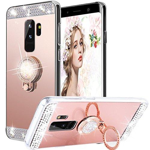 WATACHE Galaxy S9 Plus Hülle, Luxus Glitter Shiny Bling Niedlich Diamond Mirror Make-up Fall für Mädchen mit Fingerring Kickstand Flexible TPU Schutzhülle für Samsung Galaxy S9 Plus(Roségold) (Ringe Niedliche)