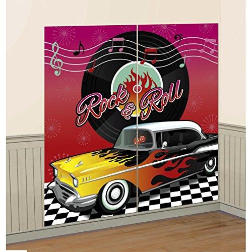 NET TOYS Déco Murale Fifties Affiche Rock'n'Roll 2 Pièces Party Poster Années 60 Décoration Mur 50s Banner Fête