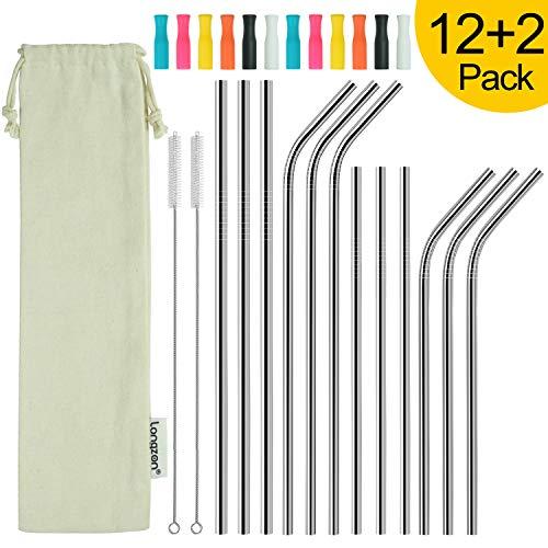 longzon Paille INOX, 【12 Pack】 pailles reutilisables, Paille de Fer, Paille Acier en Metal Biodegradable, Mieux Que Paille Bambou/Carton/Papier, 2 Brosse+Sac+Manchon en Silicone-Longue 8.5''+10.4 ''