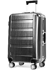 Teemzone Trolley Koffer Reisekoffer Hartschale 4-Rollen Spinner 100%Polycarbonat Kratzfestigkeit Aluminiumrahmen TBS Schloss Leicht Grau