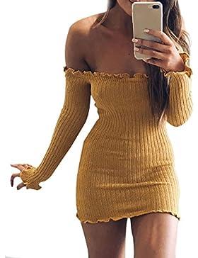 Kinikiss vestito elegante da donna senza spalline Sexy con manica lunga e spalle scoperte Abito da sera corto...
