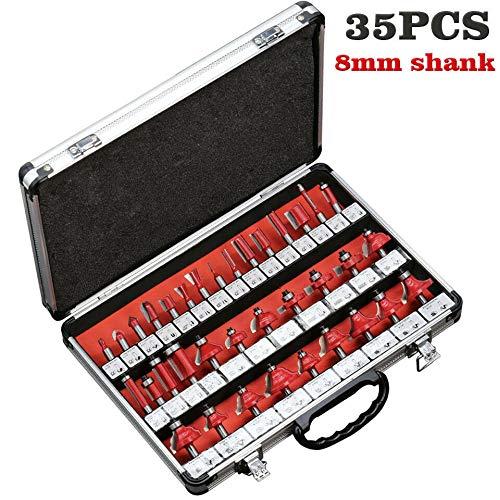 35PCS Kit de fraisage pour bois pour défonceuse en carbure de tungstène bois outils avec tige de 8 mm, avec boîte (8mm rouge)