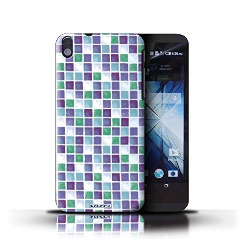 Kobalt® Imprimé Etui / Coque pour HTC Desire 816 / Rose conception / Série Carreau Bain Violet/Vert