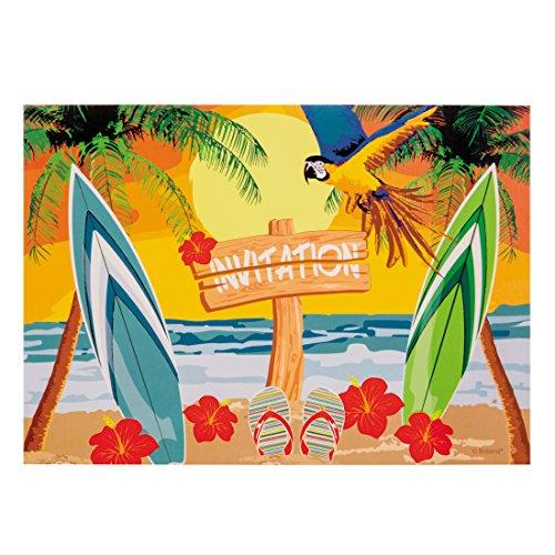 NET TOYS 6 Einladungskarten Beach Party Deko Strandparty Einladung Sommerparty Grußkarten Partyeinladungen Mottoparty Hawaii