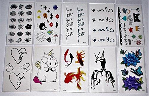 wolga-kreativ Tattoo Set 10 Bogen wie Hauptbild Blume Rose Krone Herz Einhorn Reh Schmetterling Comic Schriftzug temporäre Tattoos (temporäre Transferfolie, hautfreundlich) (Herz & Schmetterling Tattoos)