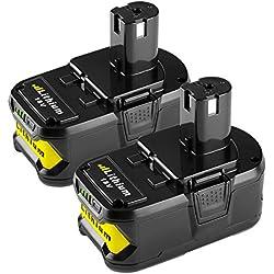 [2 Packs] Powilling 18V 5,0Ah Li-ion Remplacement de Batterie Pour Ryobi 18V ONE+ P108 P107 P104 P105 P102 P103 Outils Sans Fil