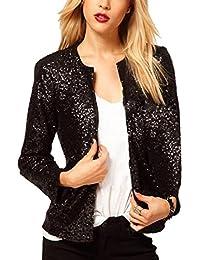 Blázer lentejuela para Las mujeres de moda de cuello redondo y mangas largas, traje Casual