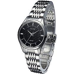 OLIPAI Men's Classic Swiss Quartz Watch Wristwatch with Black Dial Stainless Steel Bracelet