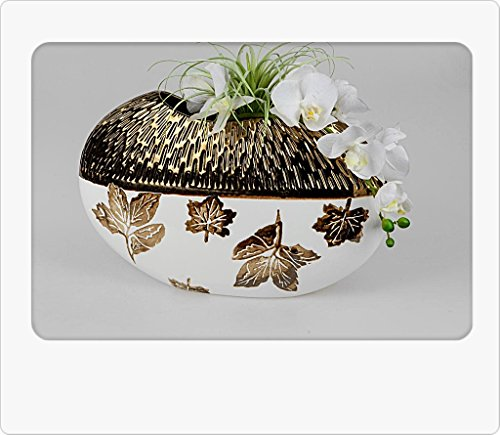 Formano Deko Vase Blatt-Antik Oval 40x26 cm, Creme Gold Antik