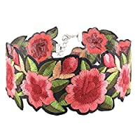 AllRight Embroidery Rose Chorker Gift Short Necklace Boho Punk Rock Style Flower Necklacce rose