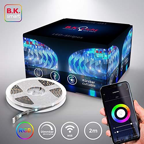 B.K.Licht I 2 Meter Smart LED Stripe I 5V USB WiFi LED Band I App steuerbar I Sprachsteuerung Alexa und Google Assistant I Silikonummantelt I iOS & Android kompatibel I Selbstklebend I Schwarz
