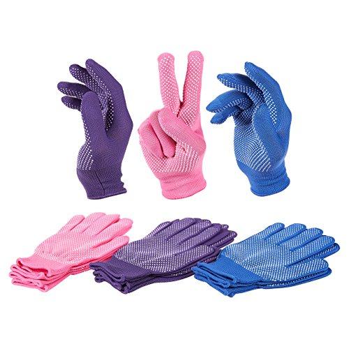 Juvale Damen Arbeitshandschuhe, Polyester, gestrickt, Violett, Rosa, Blau, 6 Paar