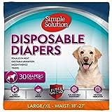 simple solution Hundewindeln für weibliche Hunde, sehr saugfähig mit Nässeindikator, 12 oder 30 Einweg-Windeln pro Packung, 30 Stück, L/XL