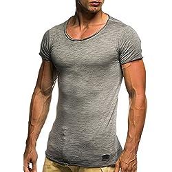 Leifheit Nelson Oversize–Camiseta de cuello redondo Basic Camiseta ln6281 Anthrazit-Verwaschen small