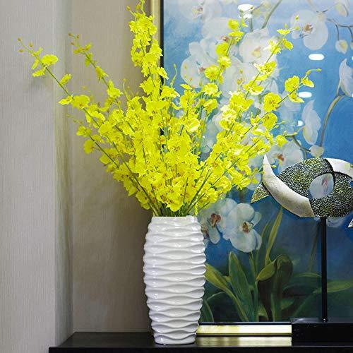 SloyBaden Künstliche Orchideenblüten Mit Keramikvase Real Touch DIY Seidenblume Kleine Topfpflanze Blumen Blumenschmuck Kleine Pot10 Sticks + Weiße Flasche