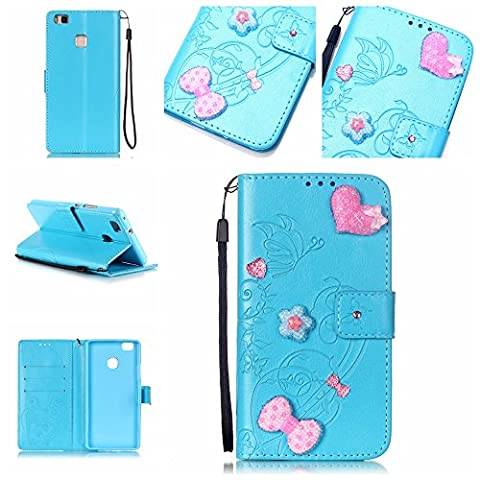 For Huawei P9 Lite Case [Blue],Cozy Hut [Wallet Case] Magnetic Flip Book Style Cover Case ,High Quality Classic New design Crystal Butterfly Flower Pattern Design [With Diamond] Premium PU Leather Folding Wallet Case With [Lanyard Strap] and [Credit Card Slots] Stand Function Folio Protective Holder Perfect Fit For Huawei P9 Lite -