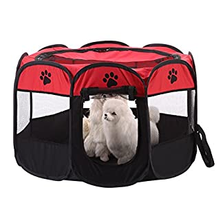 awhao Pet Play Pen Portable Foldable Puppy Dog Pet Cat Rabbit 8-side Fabric Playpen Crate Cage Kennel 51DZUjNoQNL