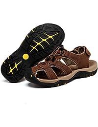 Onfly Hombres Chicos Dedo del pie cerrado Cuero Casual Sandalias Zapatillas Antideslizante Respirable Para caminar Al aire libre Sandalias Zapatos de agua Zapatillas de deporte ocasionales Playa Zapatos San , dark brown , 41