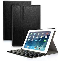 """feelkaeu Custodia per iPad 9.7'' 2018/iPad 9.7'' 2017 con Tastiera Bluetooth Removibile QWERTY Italiano iPad Air 1/iPad Air 2/iPad Pro 9.7""""/iPad 9.7'' 2017/iPad 9.7'' 2018 Nero"""